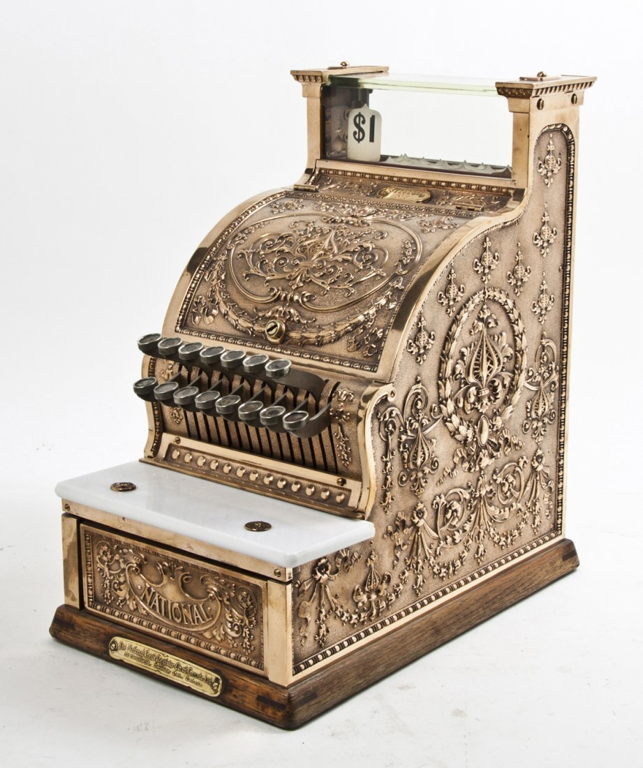 An American Brass Cash Register, National, Height 17 1/