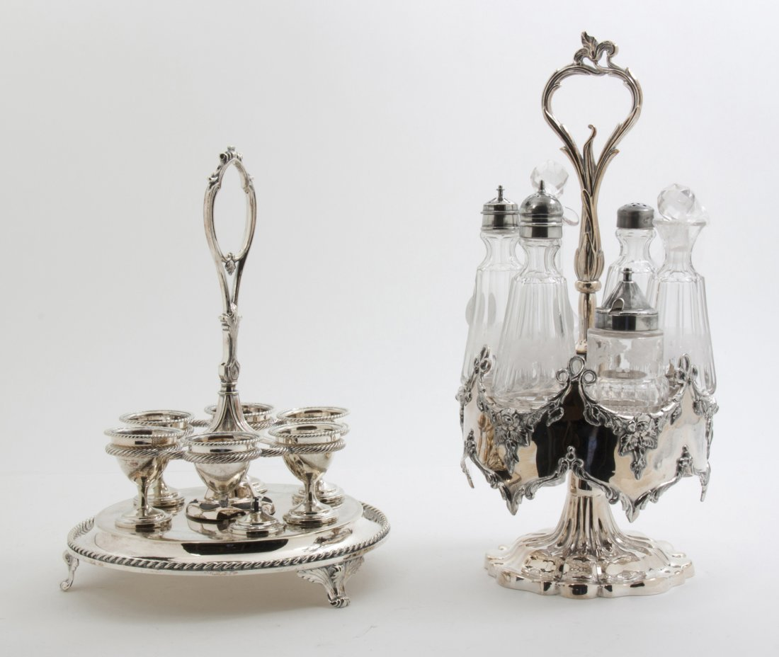 A Set of Six English Silverplate Egg Cups, Height of ta
