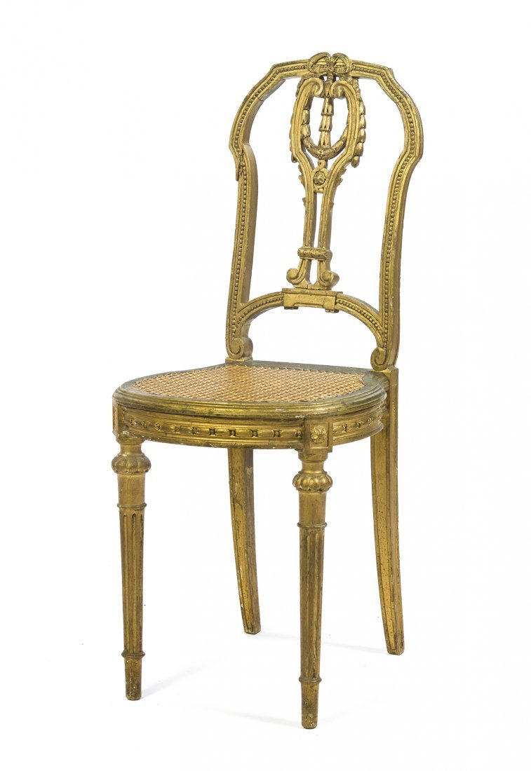 A Neoclassical Giltwood Side Chair, Height 37 1/4 inche
