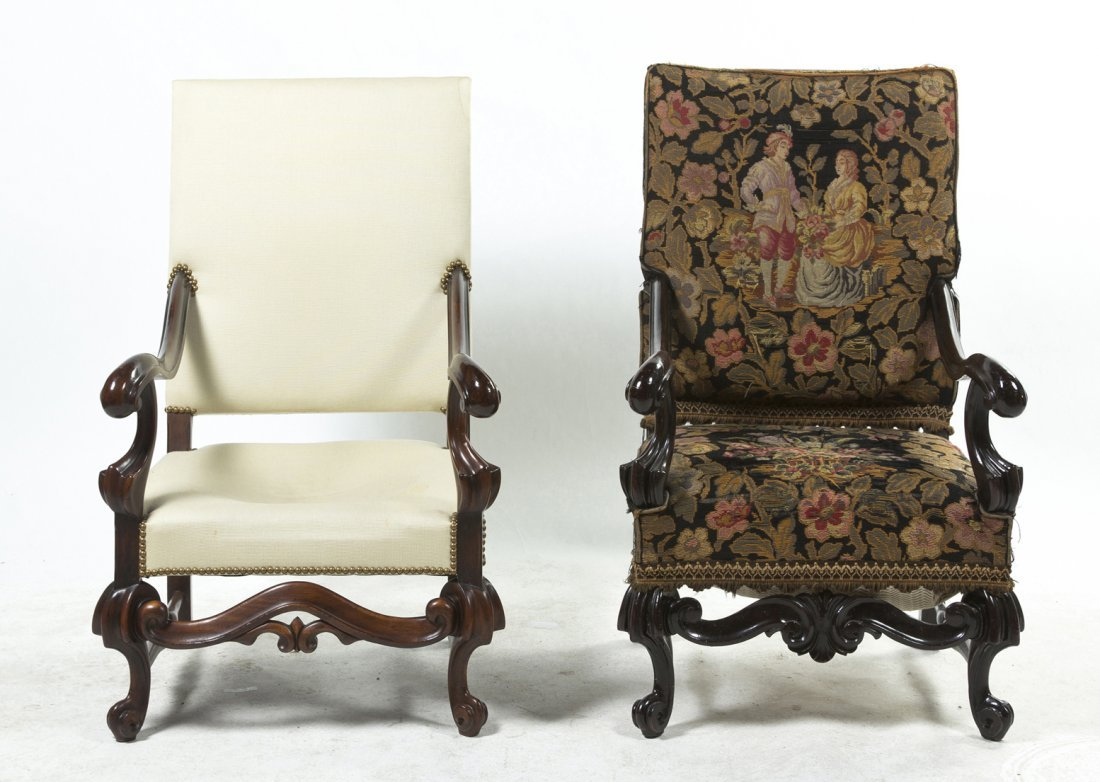 A Pair of Henry II Style Mahogany Open Armchairs, Heigh