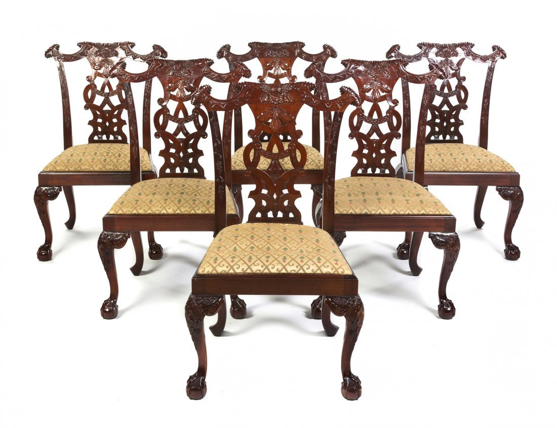 A Set of Six Chippendale Style Mahogany Side Chairs, He