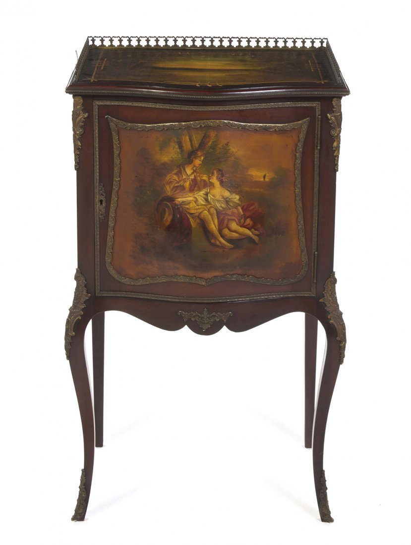 A Louis XV Style Vernis Martin Decorated Cabinet, Heigh