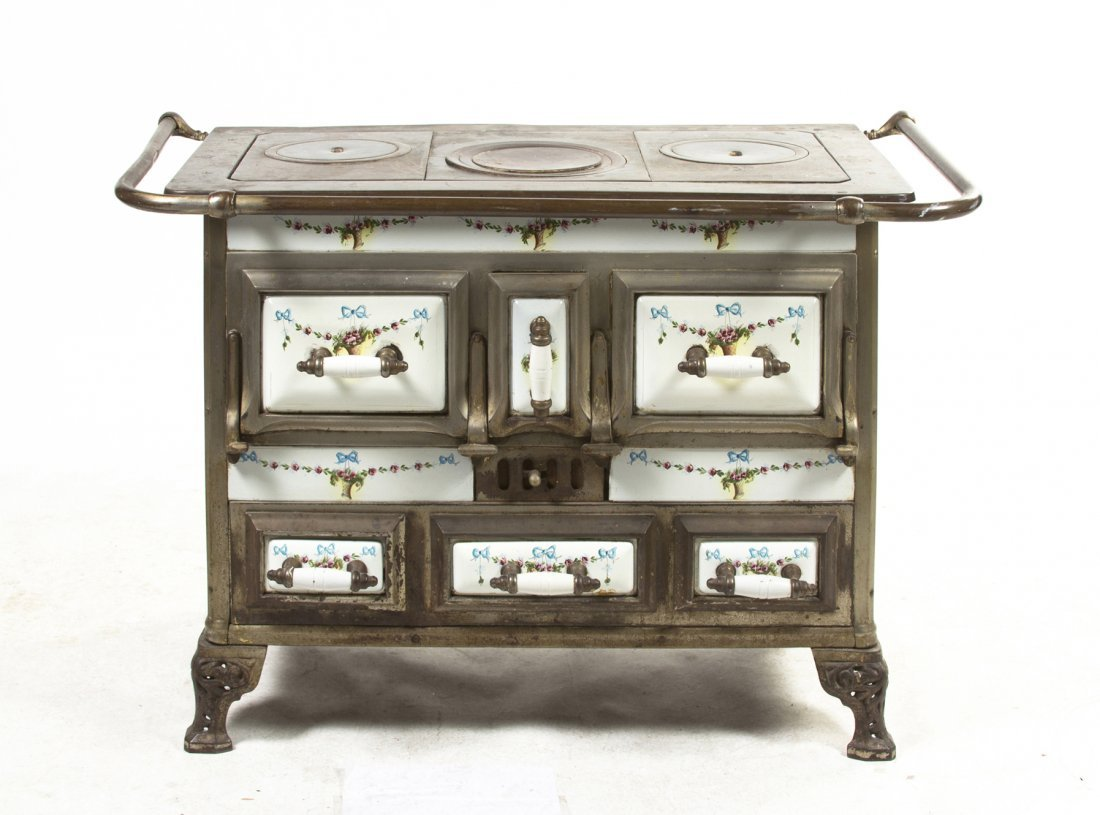 A French Enameled Stove, Height 31 x width 45 1/4 x dep
