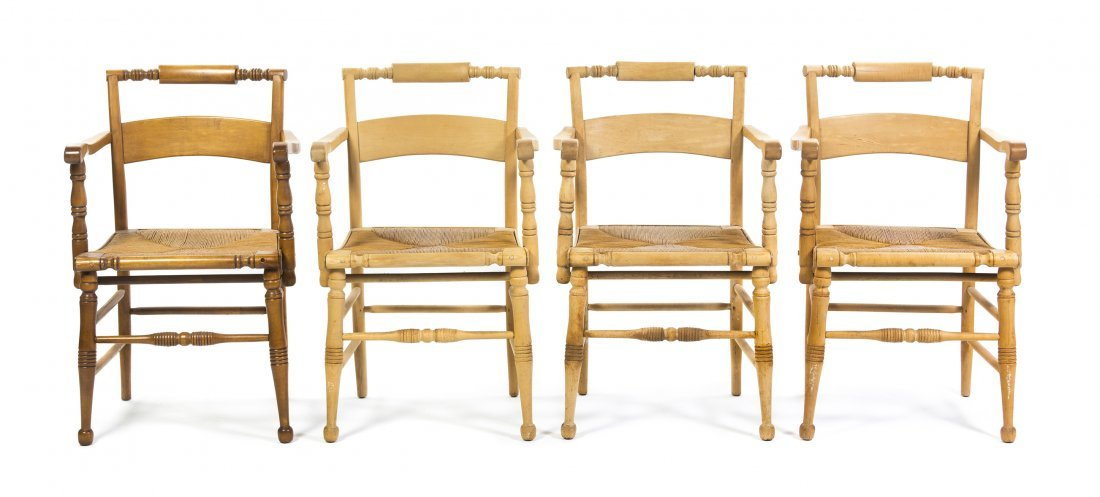 A Set of Four American Pine Open Armchairs, Height 34 i