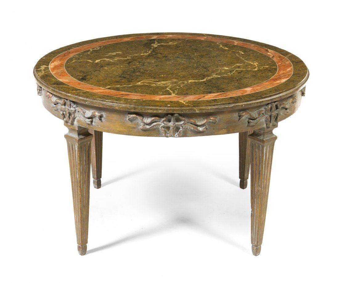 An Italian Painted Low Table, Height 20 1/4 x diameter
