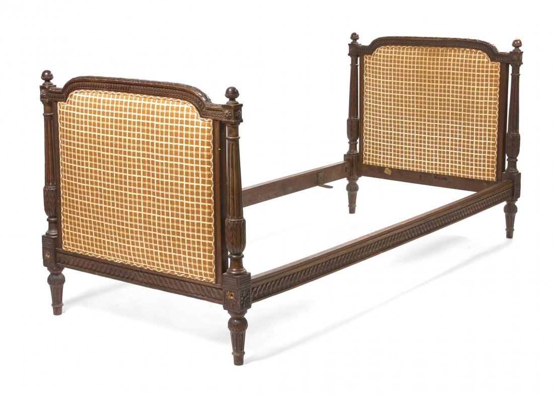 A Pair of Louis XVI Style Carved Pine Beds, Height 44 i
