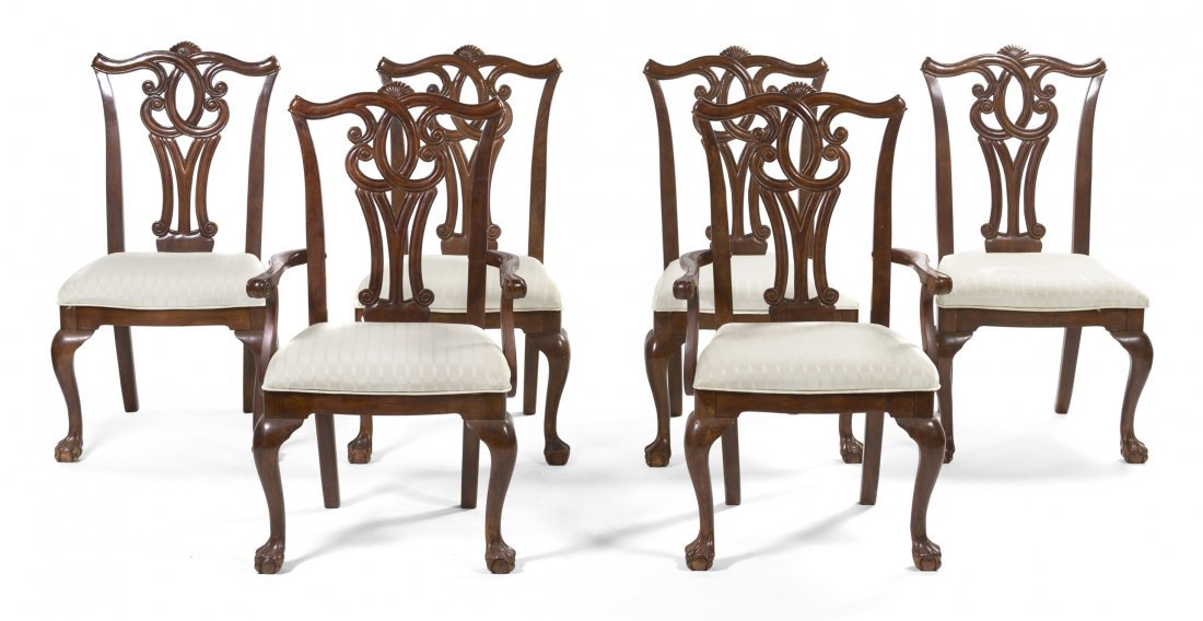 A Set of Six Chippendale Style Mahogany Chairs, Height