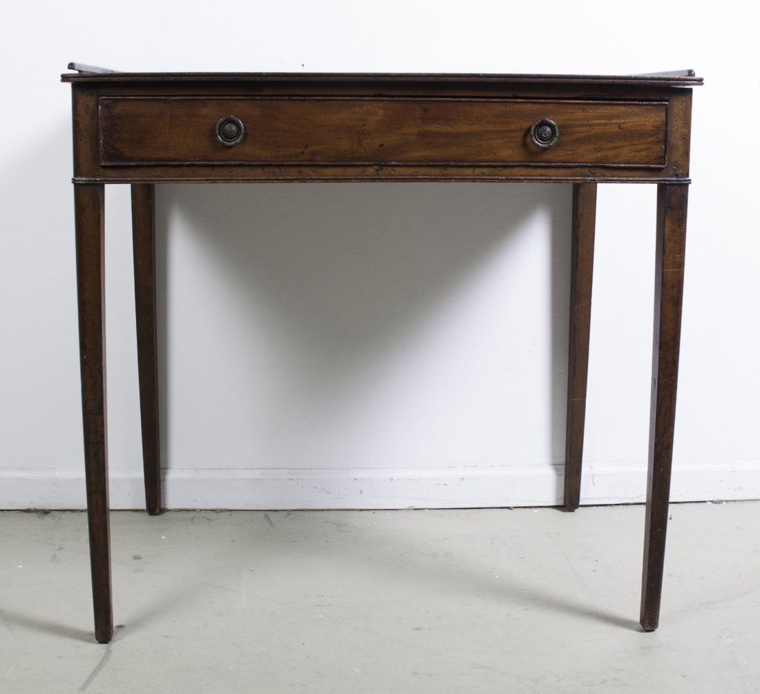A Georgian Style Mahogany Writing Table, Height 31 x wi