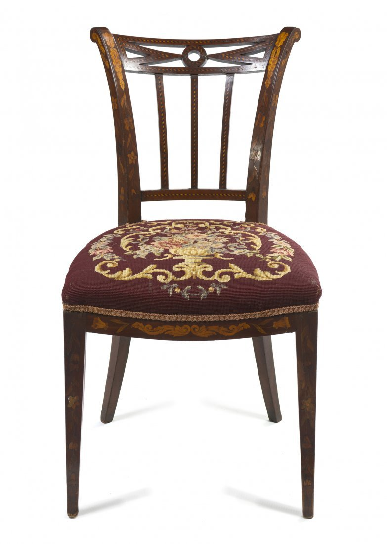 A Dutch Marquetry Side Chair, Height 34 3/8 inches.