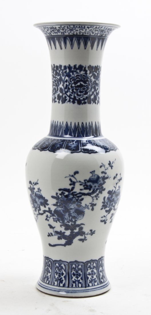 A Chinese Blue and White Porcelain Baluster Vase, Heigh