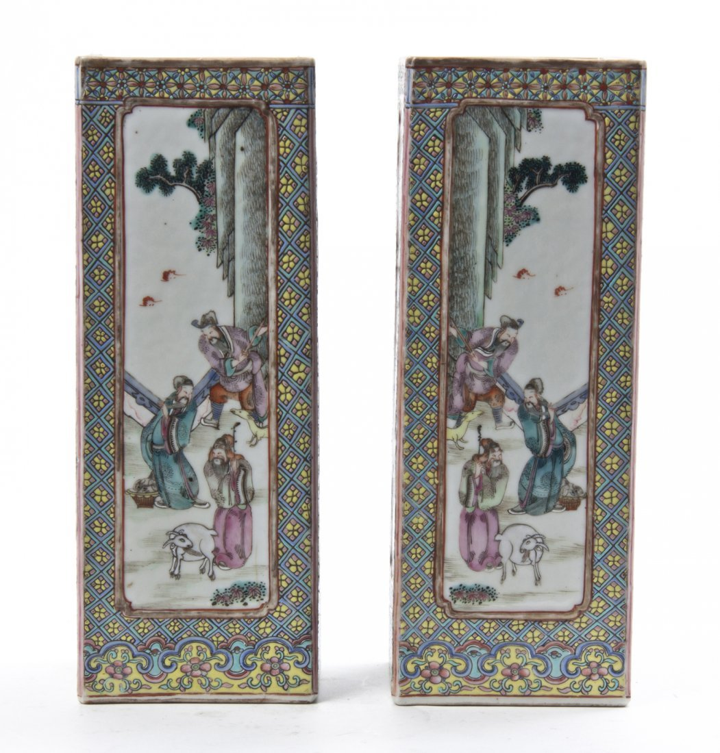 A Pair of Famille Rose Cong Form Porcelain Vases, Heigh