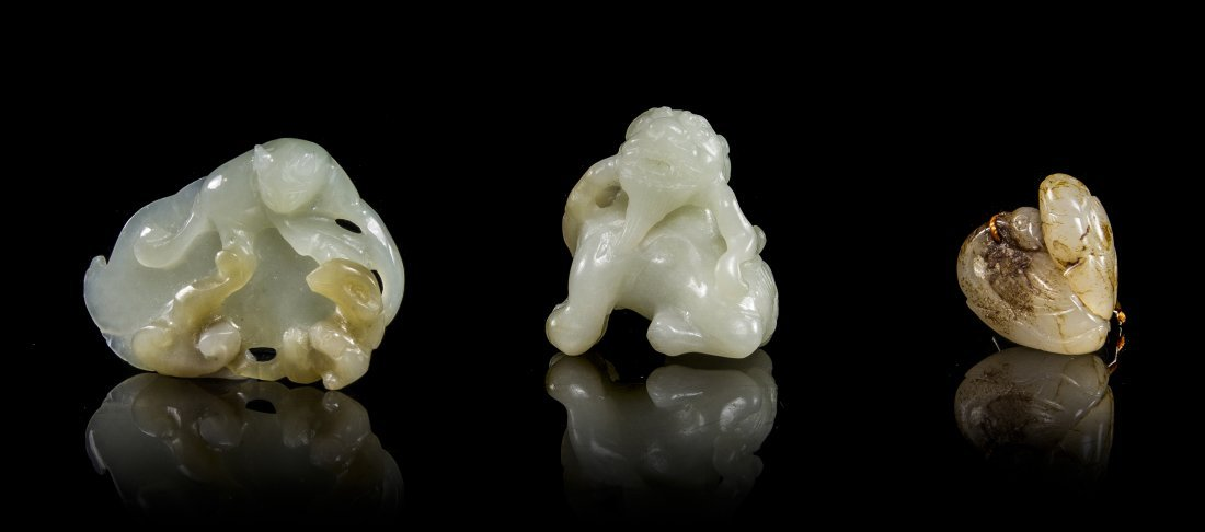 Three Chinese Carved Jade Toggles, Width of widest 1 7/