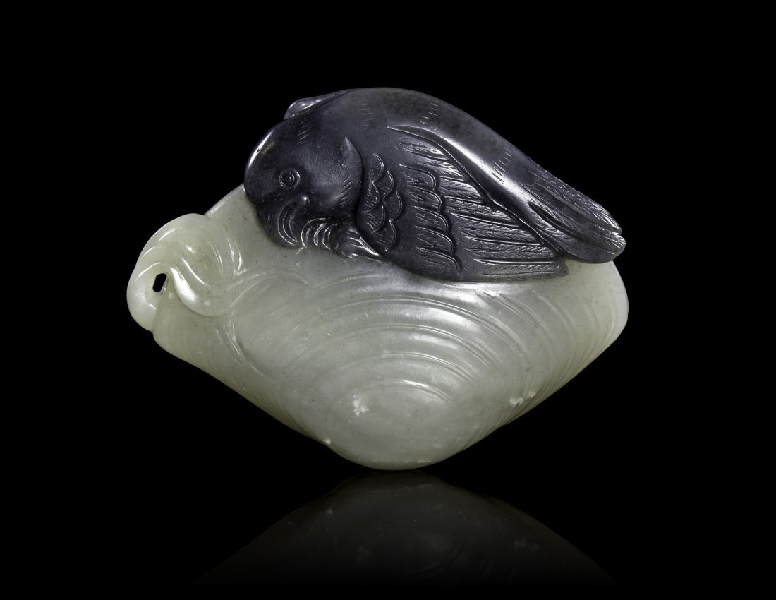 A Carved Black and White Jade Snipe and Clam, Width 3 1