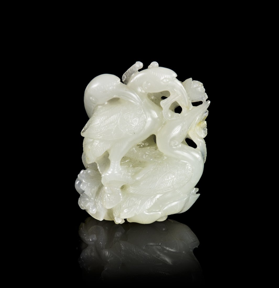 A Chinese Carved White Jade Toggle of Cranes, Height 2