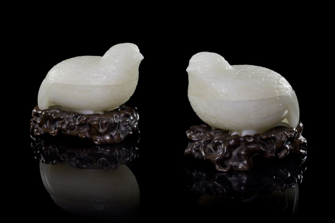 A Pair of White Jade Quail-Form Boxes, Length 3 7/8 inc