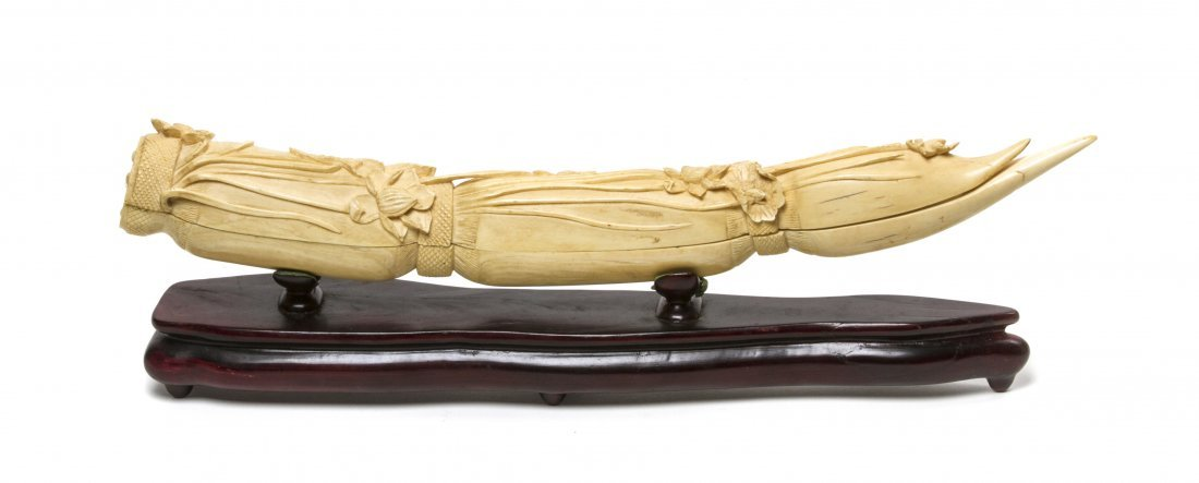 A Chinese Carved Ivory Lotus Root-Form Triptych, Width