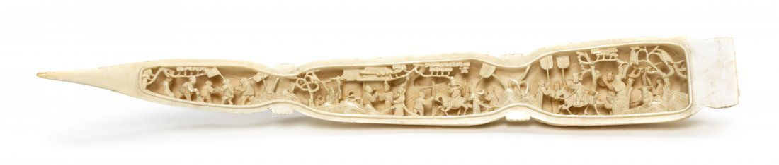 A Chinese Carved Ivory Lotus Root-Form Triptych, Width  - 3