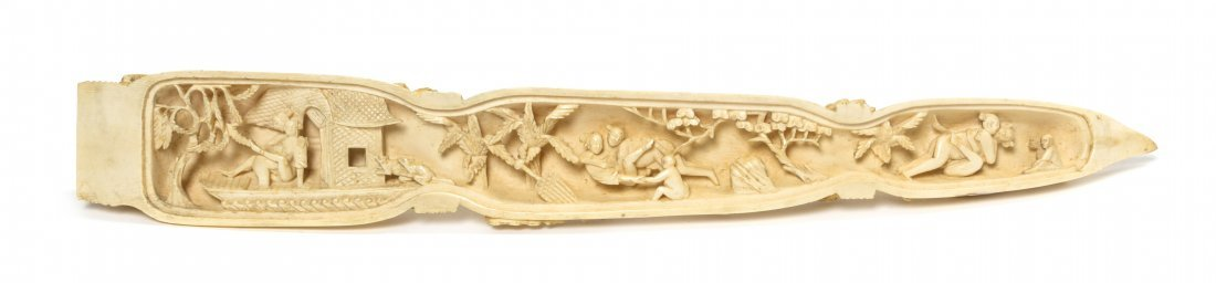 A Chinese Carved Ivory Lotus Root-Form Triptych, Width  - 4