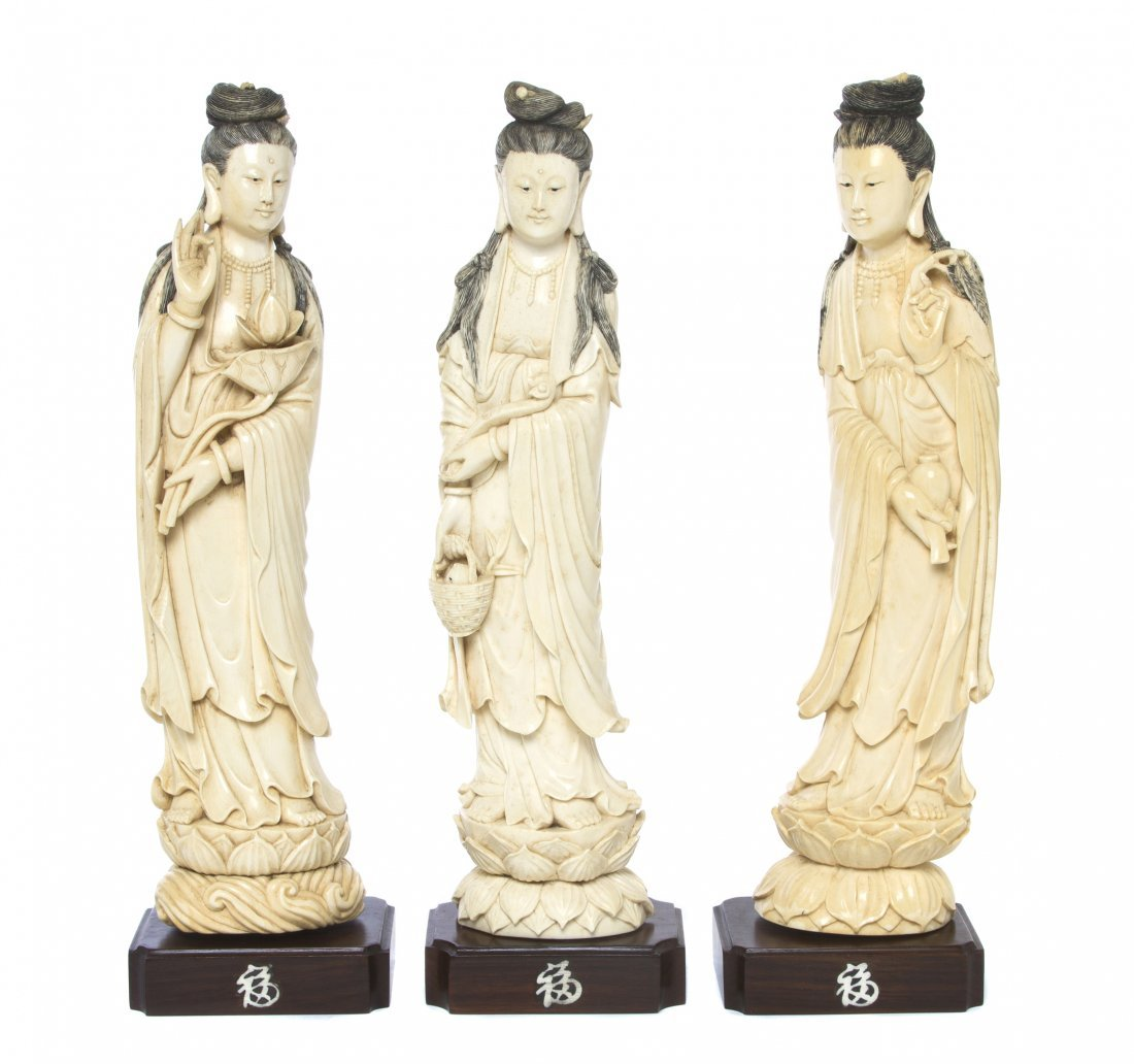 Three Chinese Carved Ivory Figures of Guanyin, Height o