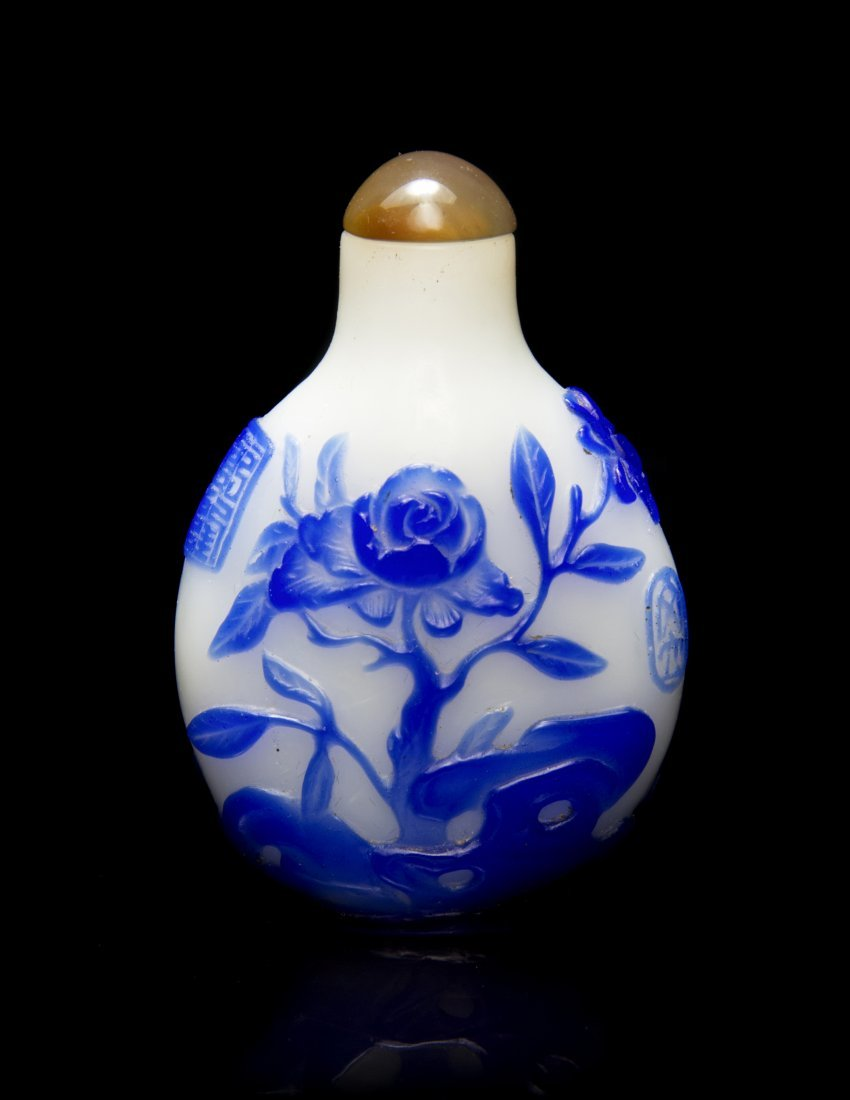 A Peking Glass Overlay Snuff Bottle, Height 2 1/4 inche