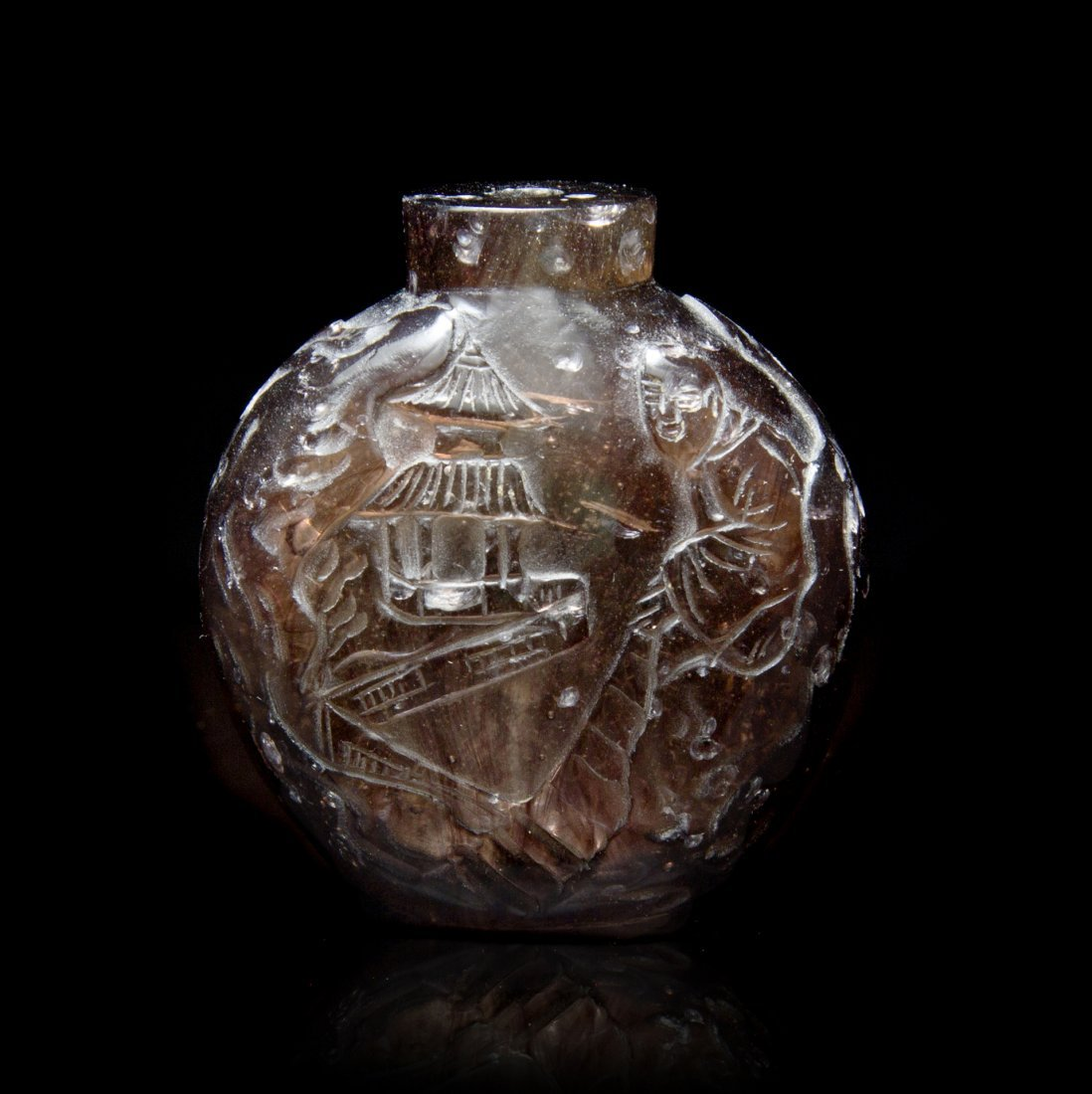 A Carved Peking Glass Snuff Bottle, Height 2 1/2 inches
