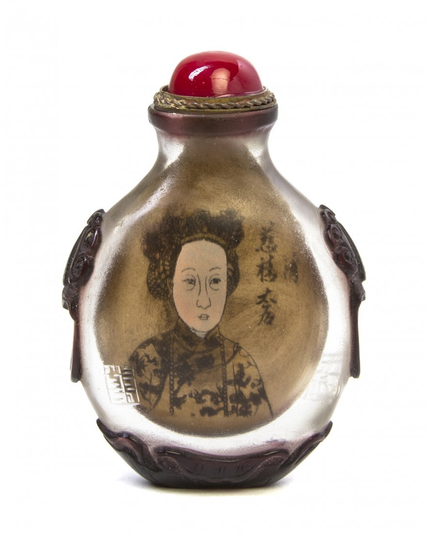 An Interior Painted Glass Snuff Bottle, Height 2 3/8 in