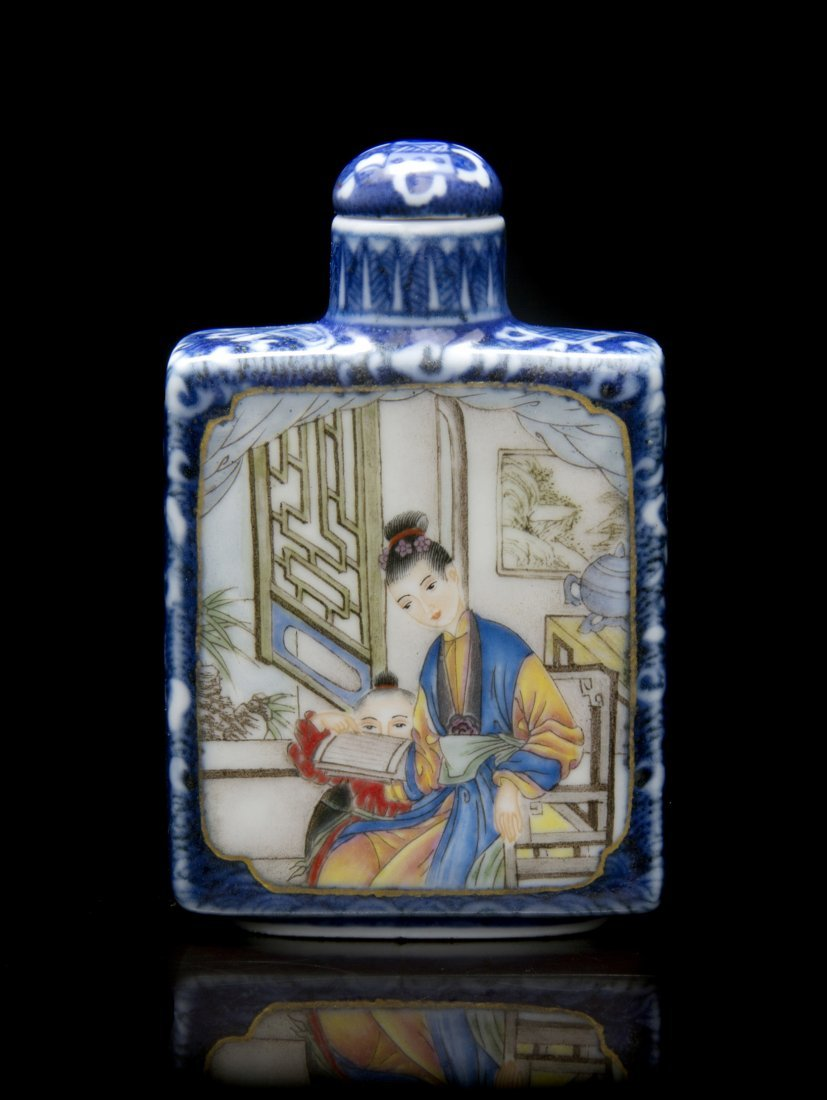 A Polychrome Enameled Porcelain Snuff Bottle, Height 3