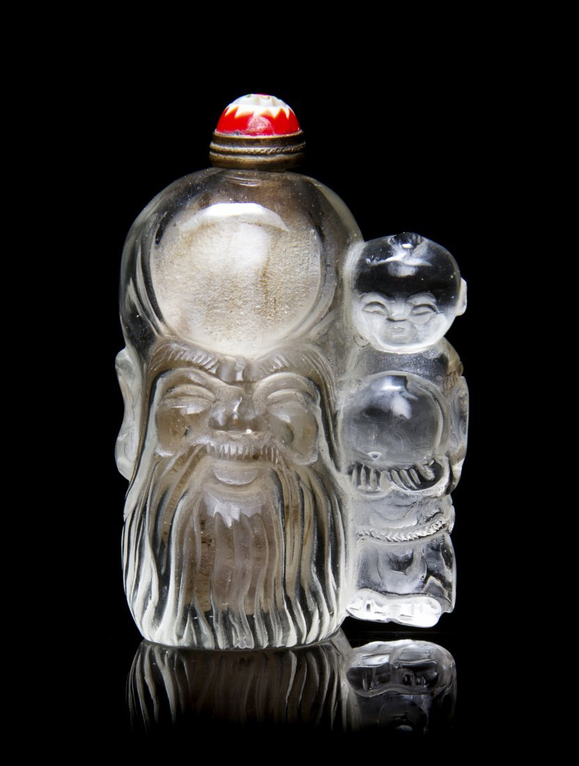 An Interior Painted Figural Snuff Bottle, Height 2 3/8