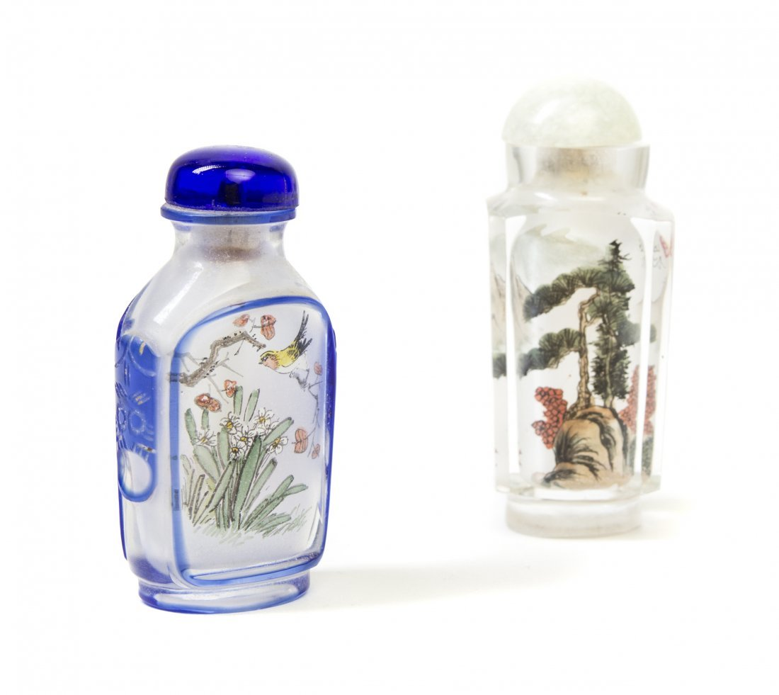 Two Interior Painted Glass Snuff Bottles, Height of tal