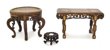 Three Chinese Carved Wood Articles, Height of largest 7