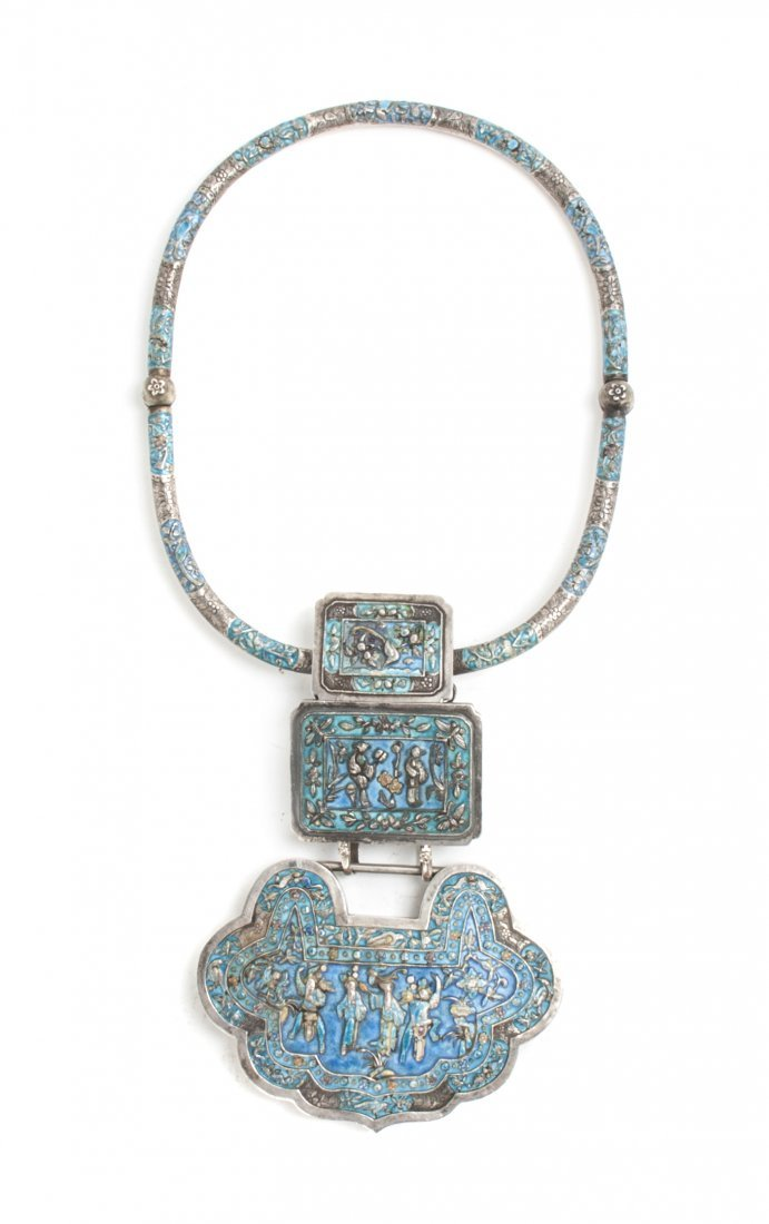 A Chinese Enameled and Silvered Metal Necklace, Length