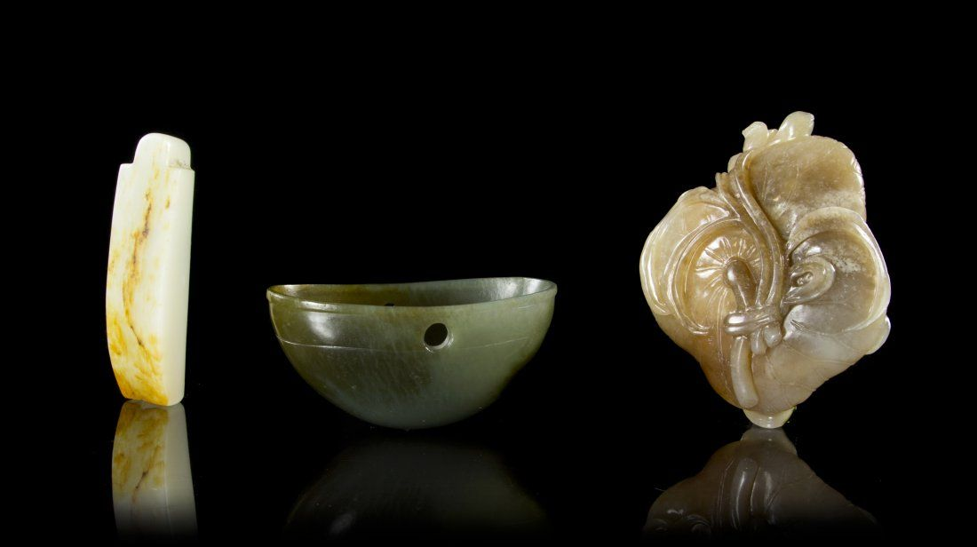 Three Chinese Carved Jade Articles, Height of tallest 3