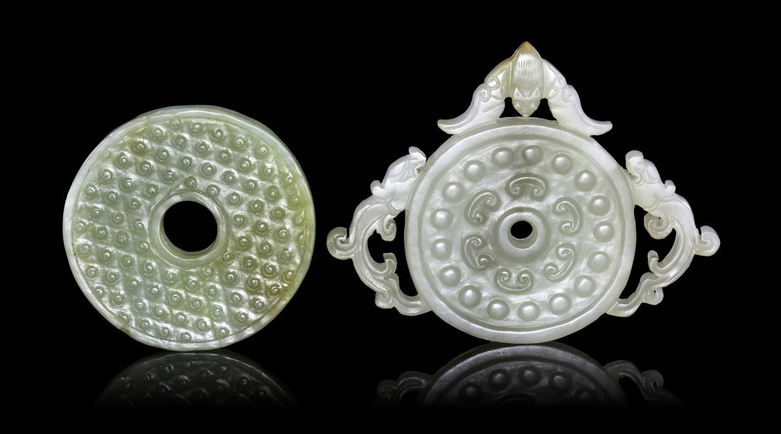 Two Carved Jade Bi, Width of wider 3 5/8 inches.