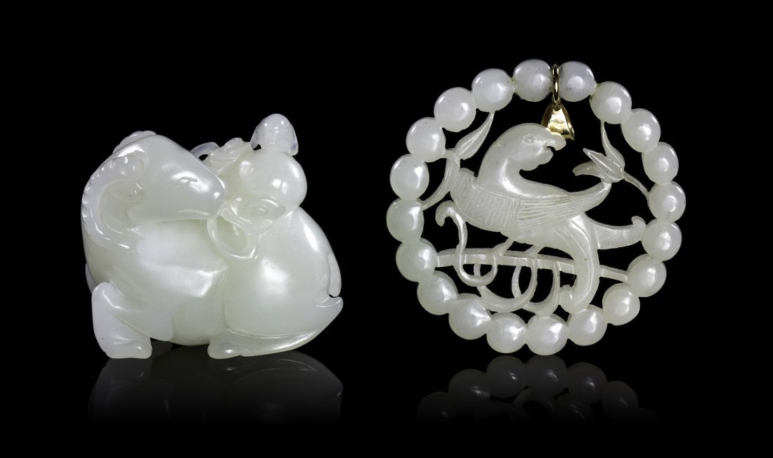 A Group of Two Carved White Jade Articles, Width of wid