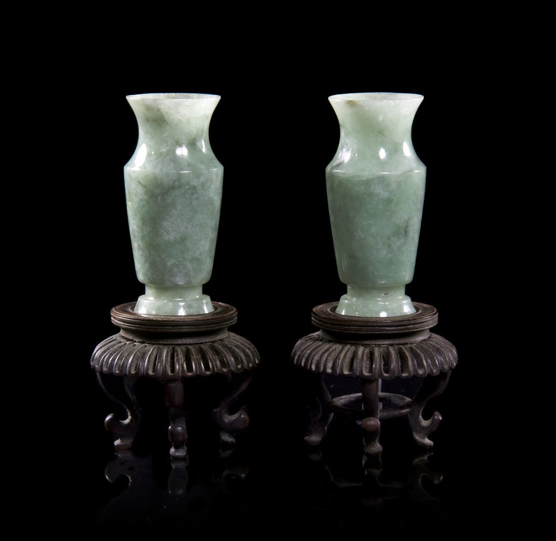 A Pair of Carved Jade Baluster Form Vases, Height 3 inc