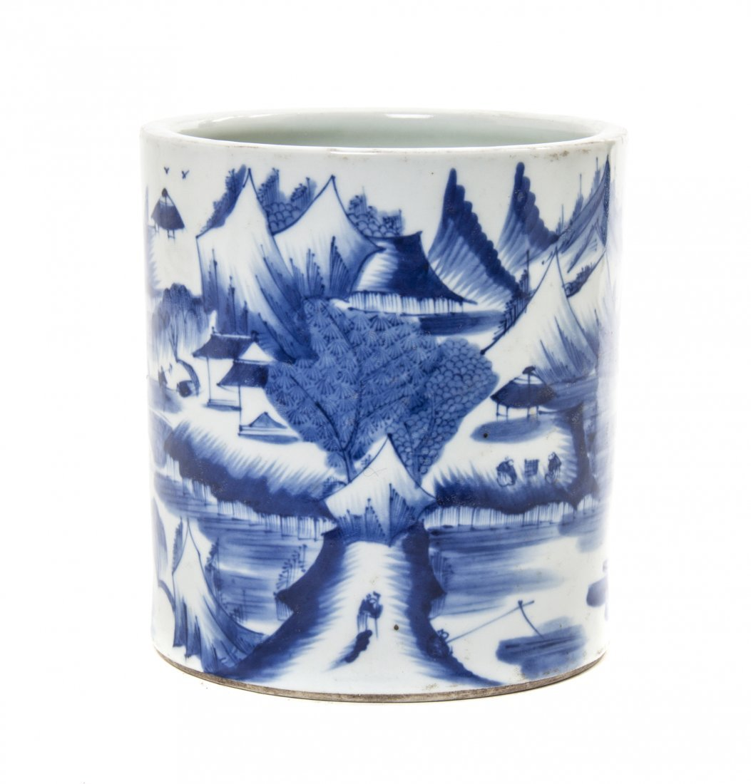 A Blue and White Porcelain Brushpot, Height 6 1/2 inche