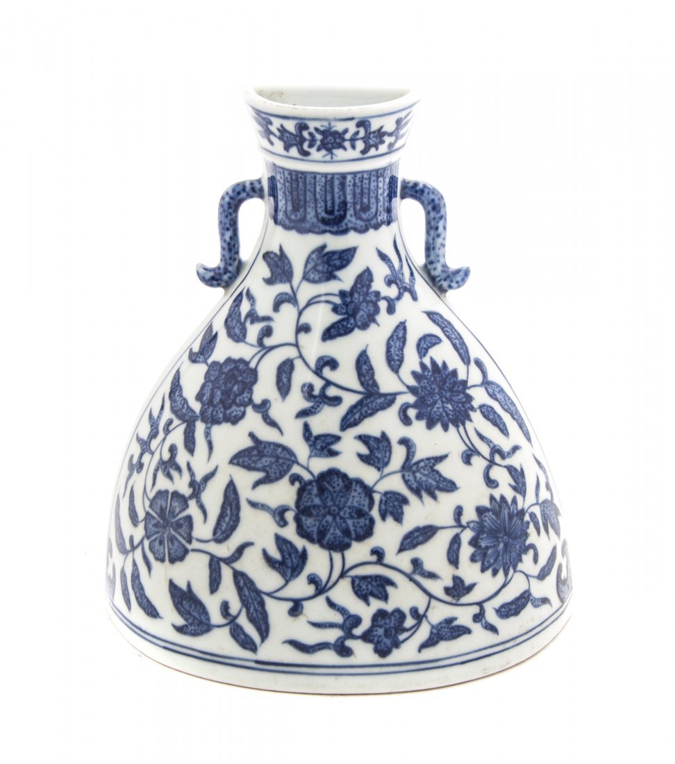 A Chinese Porcelain Blue and White Wall Flask, Height 6
