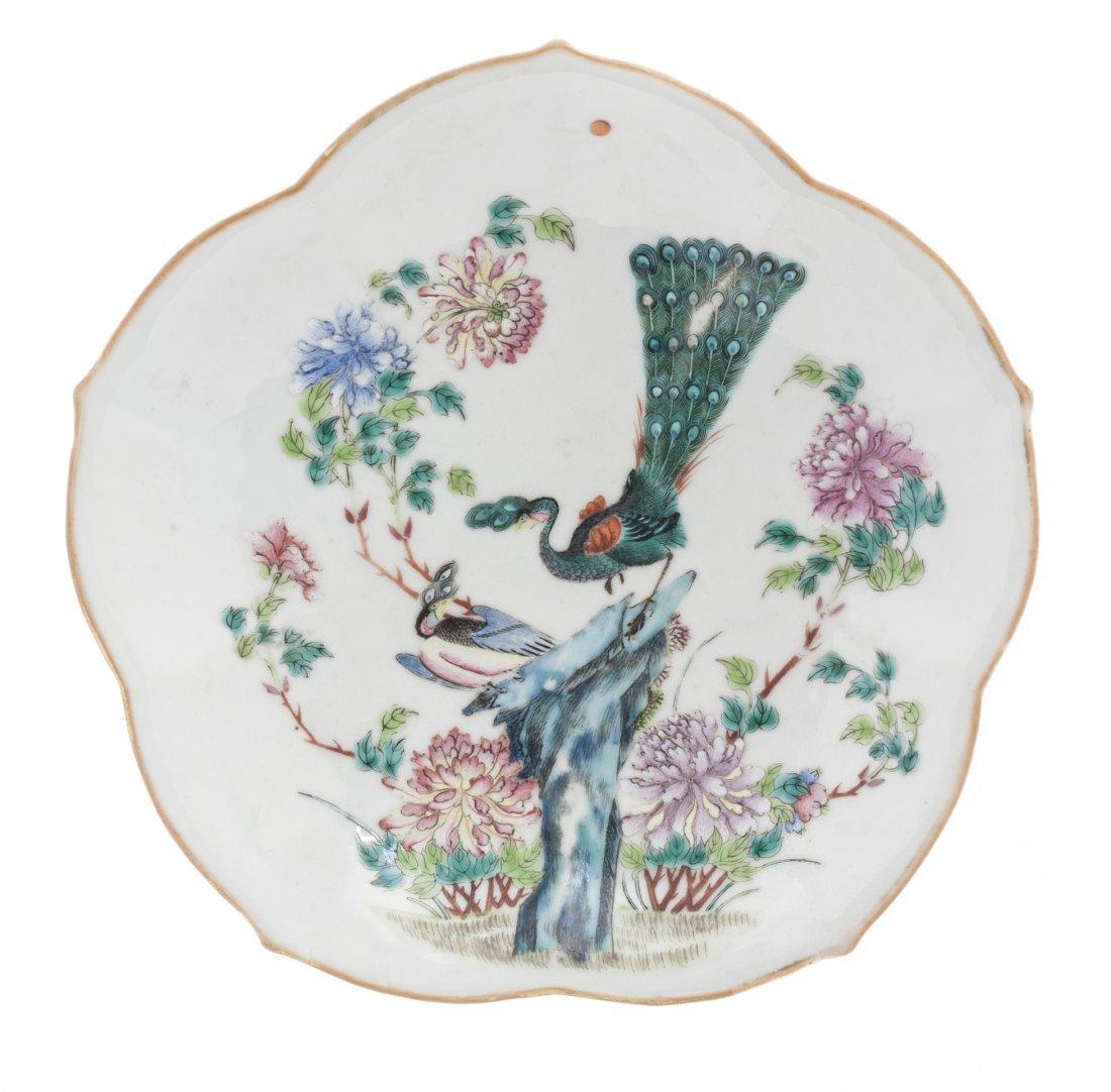 A Polychrome Enameled Porcelain Floriform Dish, Width 9