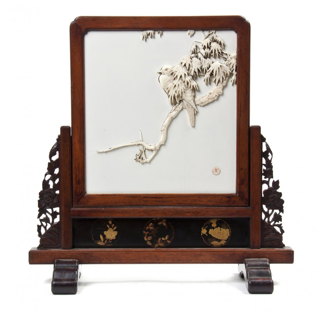 A Japanese Ivory Inlaid Enameled Tablescreen, Height ov