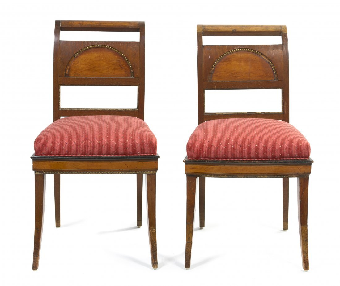 A Pair of Regency Style Side Chairs, Height 34 inches.