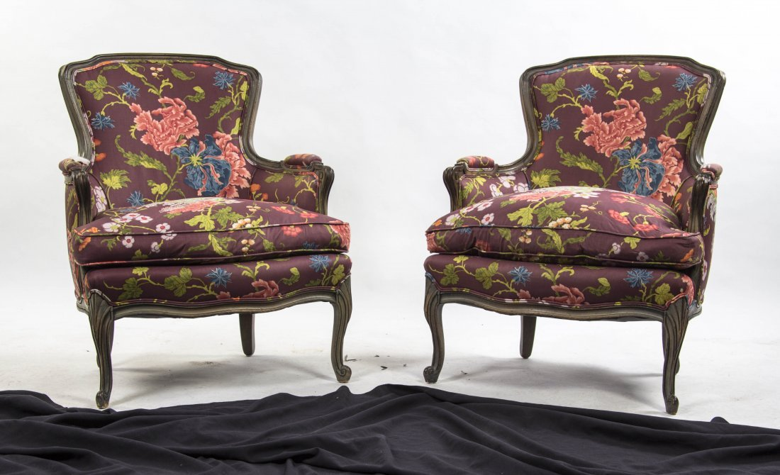 A Pair of Louis XV Style Bergeres, Meyer Gunther Martin