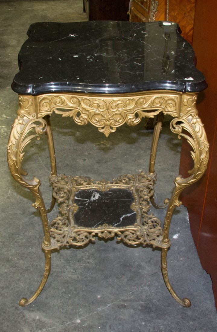 A Neoclassical Style Gilt Metal and Marble Occasional T