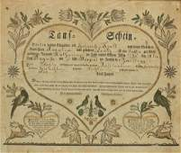 A Pennsylvania German Handcolored Birth Certificate He