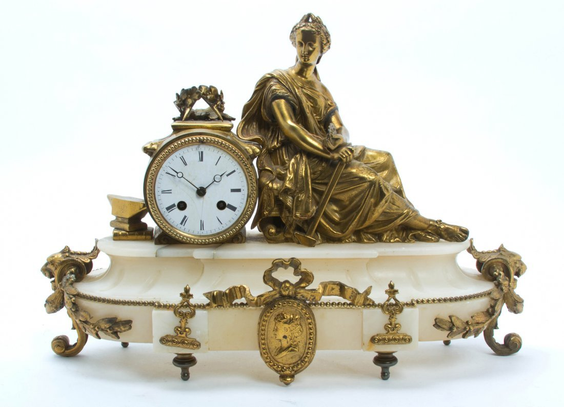 A Continental Gilt Metal and Alabaster Mantel Clock, Wi
