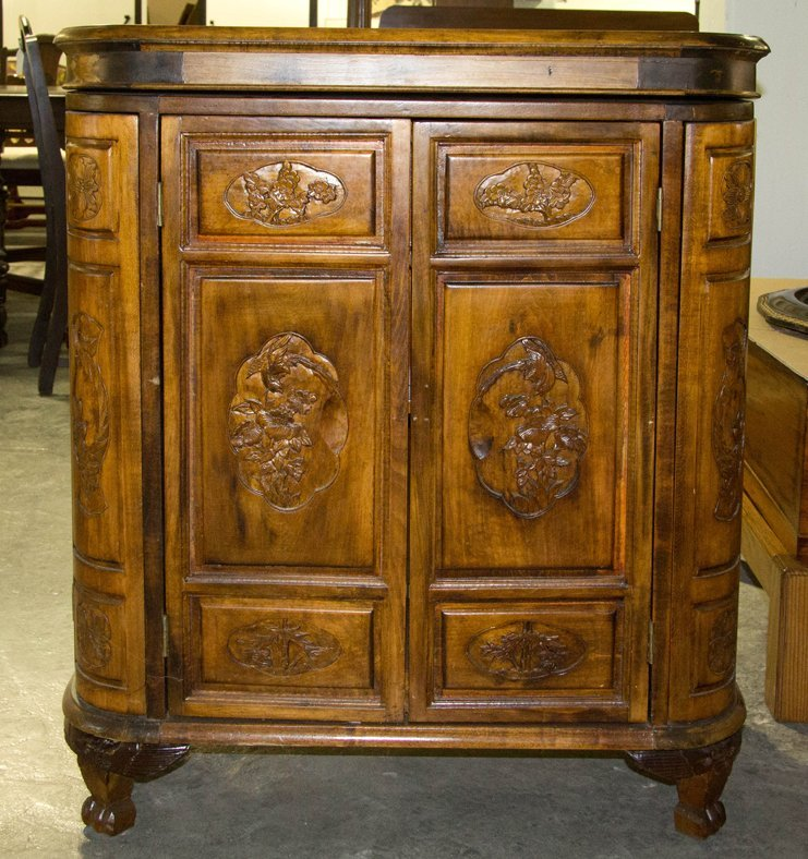 A Carved Hardwood Bar, Height 36 1/2 x width 31 3/8 x d