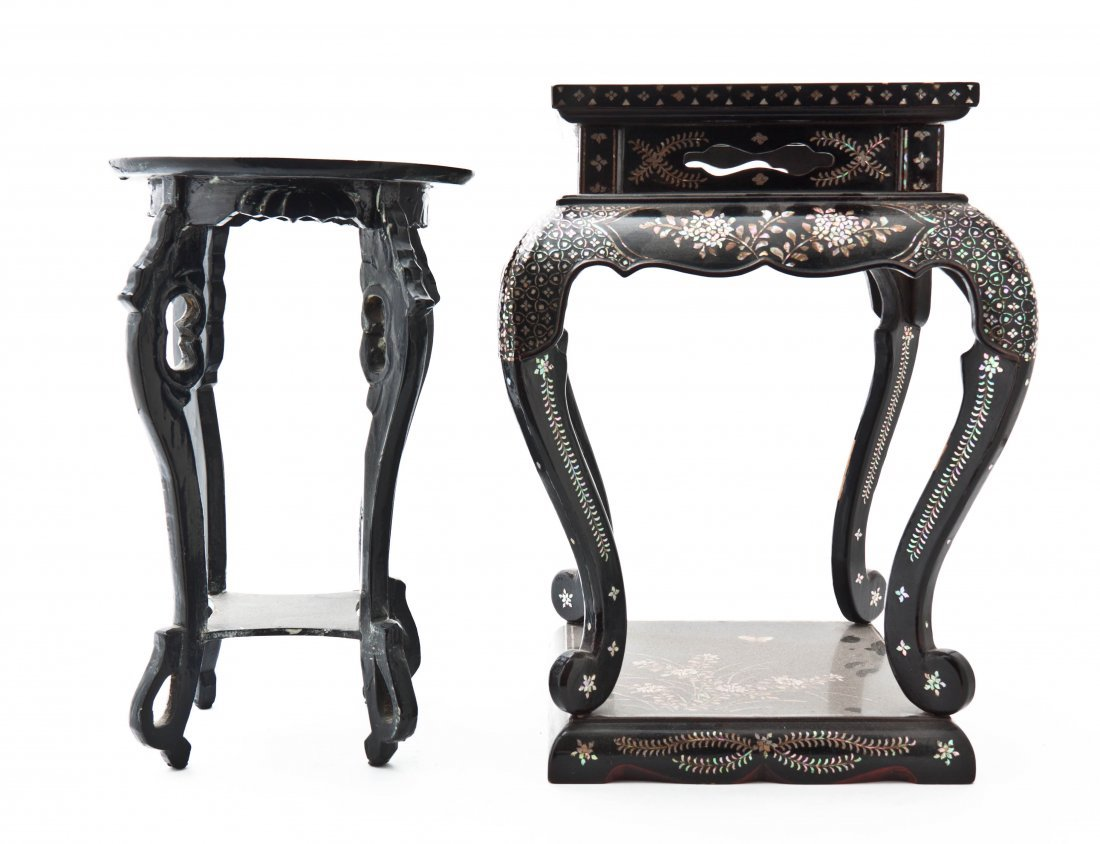 Two Chinese Mother-of-Pearl Inlaid Wood Pedestals, Heig