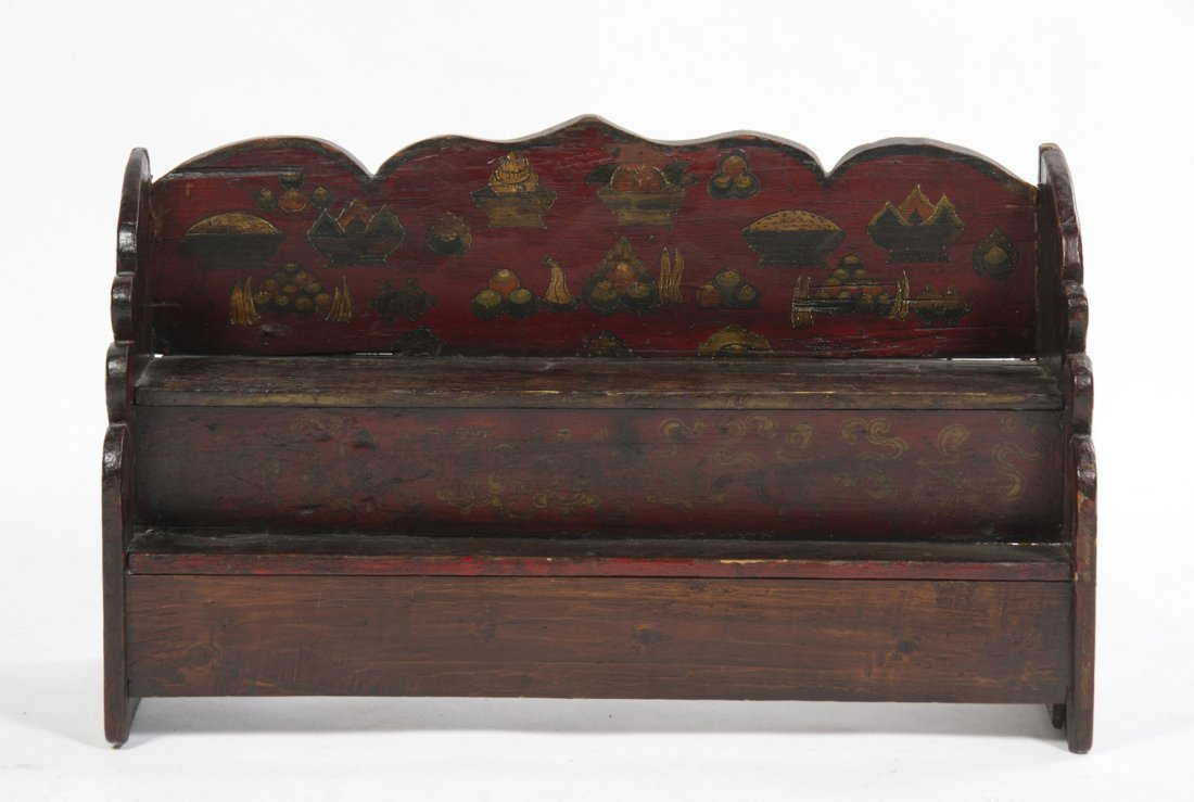 A Chinese Painted Hanging Shelf, Height 17 3/8 x width