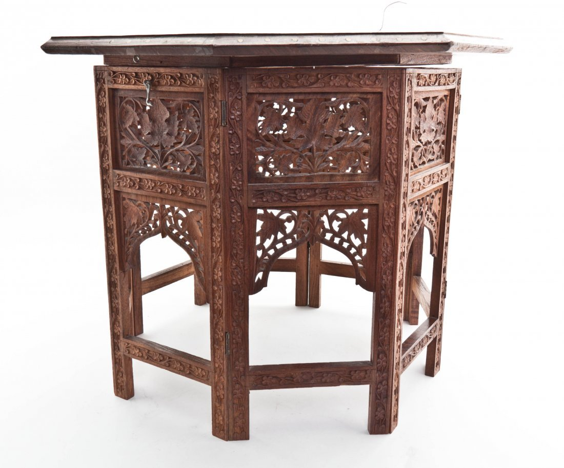 An Indian Octagonal Side Table, Height 19 inches.