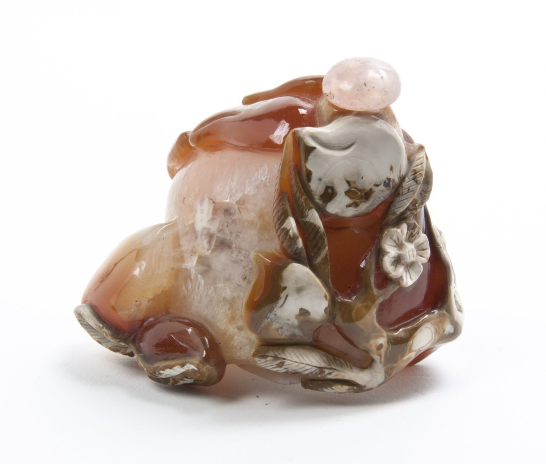 An Agate Fruit Form Snuff Bottle, Length 3 1/8 inches.