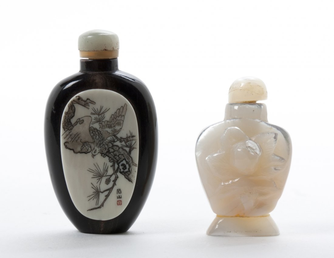 Two Chinese Snuff Bottles, Height of taller 2 1/16 inch